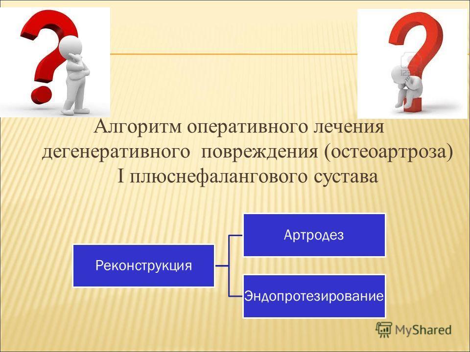 Алгоритм оперативного лечения дегенеративного повреждения (остеоартроза) I плюснефалангового сустава Реконструкция Артродез Эндопротезирование