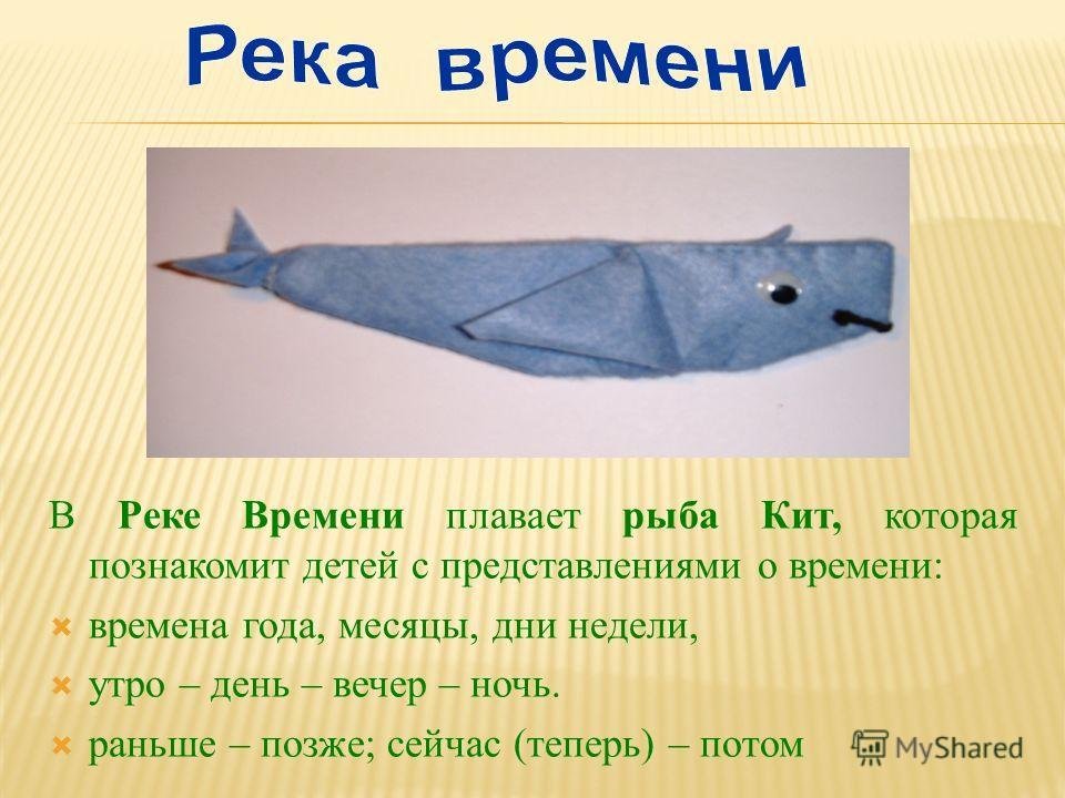 В Реке Времени плавает рыба Кит, которая познакомит детей с представлениями о времени: времена года, месяцы, дни недели, утро – день – вечер – ночь. раньше – позже; сейчас (теперь) – потом