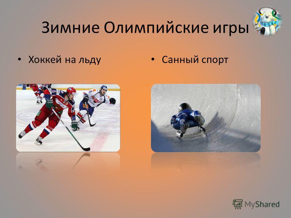 Зимние Олимпийские игры Хоккей на льду Санный спорт