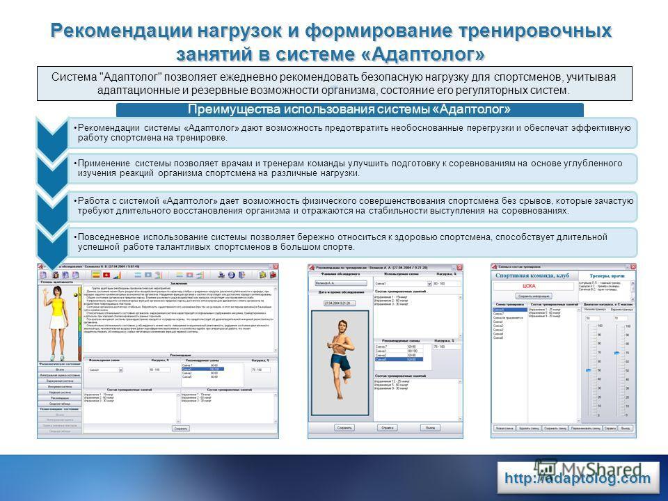 www.rit2007.ru http://adaptolog.comhttp://adaptolog.com Рекомендации нагрузок и формирование тренировочных занятий в системе «Адаптолог» Система