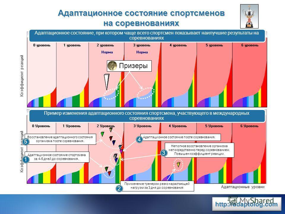 www.rit2007.ru http://adaptolog.comhttp://adaptolog.com Адаптационное состояние спортсменов на соревнованиях Коэффициент реакций Адаптационные уровни Коэффициент реакций Адаптационное состояние, при котором чаще всего спортсмен показывает наилучшие р