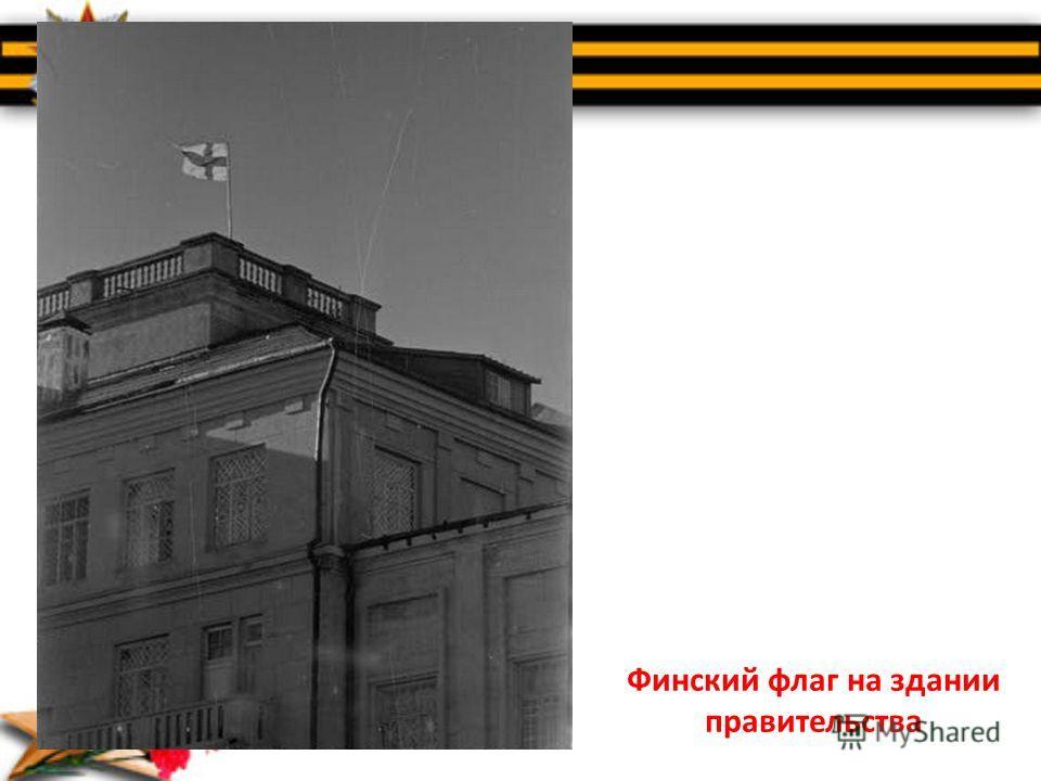Финский флаг на здании правительства