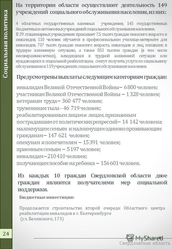 Социальная политика Свердловская область 23 38,8 млрд. рублей – расходы на социальную политику в 2014 году Направление расходов 2013201420152016 Оказание гос.услуг 4 436,54 908,05 726,06 745,8 Строительство и реконструкция 129,8 134,9- Выплаты социал