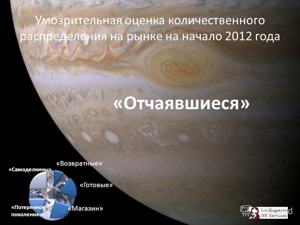 Умозрительная оценка количественного распределения на рынке на начало 2012 года «Отчаявшиеся» «Самоделкины» «Потерянное поколение»
