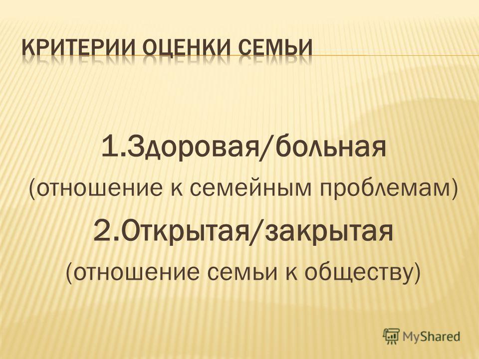 1.Здоровая/больная (отношение к семейным проблемам) 2.Открытая/закрытая (отношение семьи к обществу)