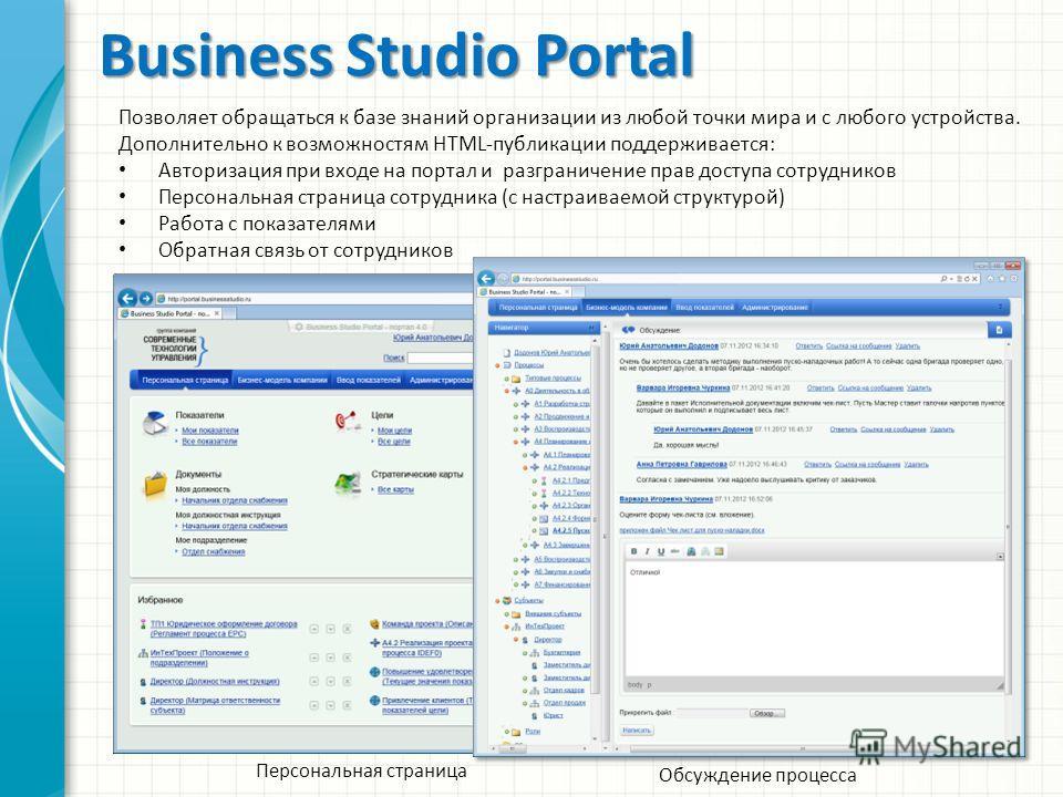 Business Studio Portal Персональная страница Позволяет обращаться к базе знаний организации из любой точки мира и с любого устройства. Дополнительно к возможностям HTML-публикации поддерживается: Авторизация при входе на портал и разграничение прав д