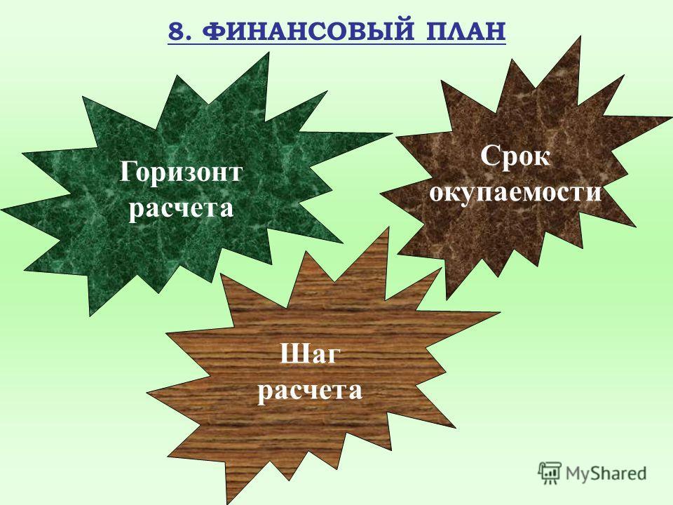 8. ФИНАНСОВЫЙ ПЛАН Горизонт расчета Шаг расчета Срок окупаемости