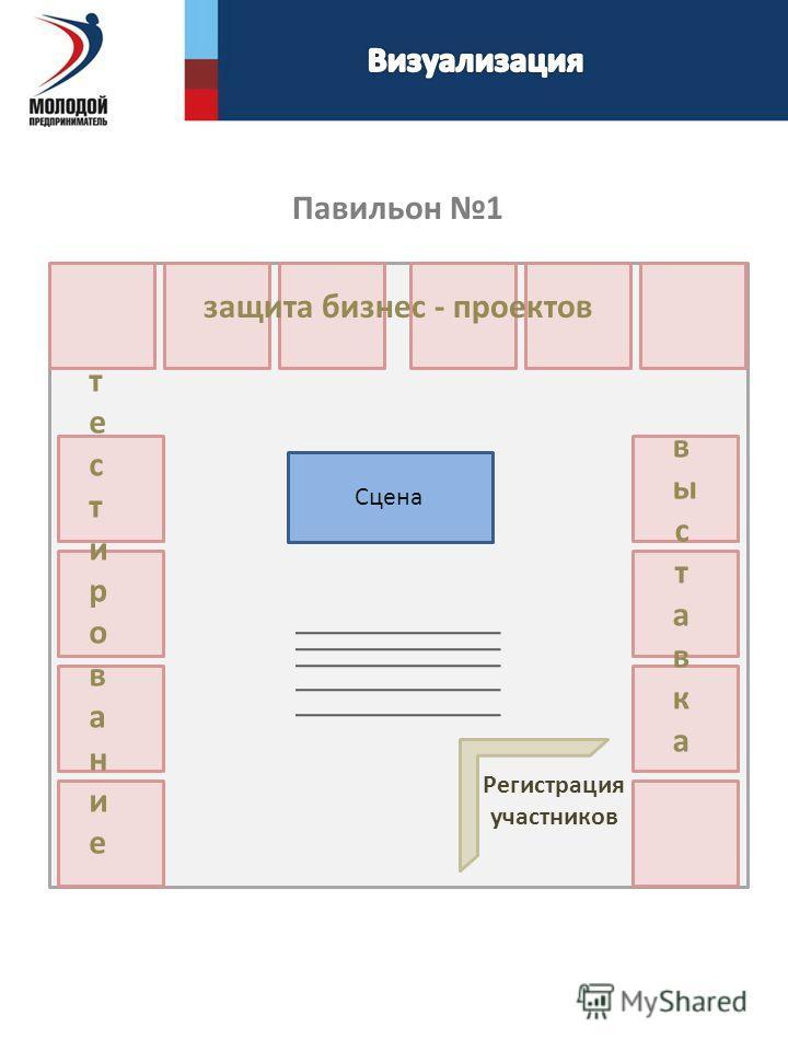 Сцена Павильон 1 тестированиетестирование выставка выставка защита бизнес - проектов Регистрация участников
