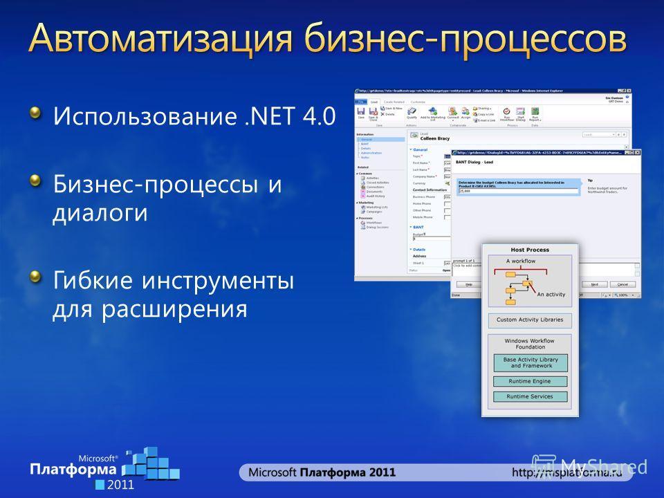 Использование.NET 4.0 Бизнес-процессы и диалоги Гибкие инструменты для расширения