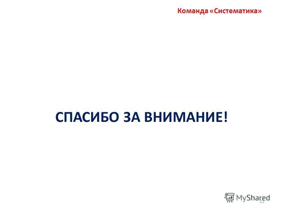 Команда «Систематика» СПАСИБО ЗА ВНИМАНИЕ! 21
