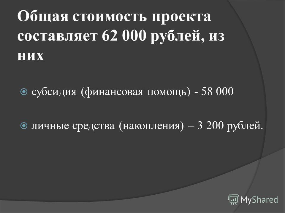 Общая стоимость проекта составляет 62 000 рублей, из них субсидия (финансовая помощь) - 58 000 личные средства (накопления) – 3 200 рублей.