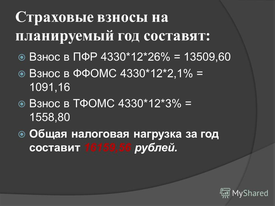 Страховые взносы на планируемый год составят: Взнос в ПФР 4330*12*26% = 13509,60 Взнос в ФФОМС 4330*12*2,1% = 1091,16 Взнос в ТФОМС 4330*12*3% = 1558,80 Общая налоговая нагрузка за год составит 16159,56 рублей.
