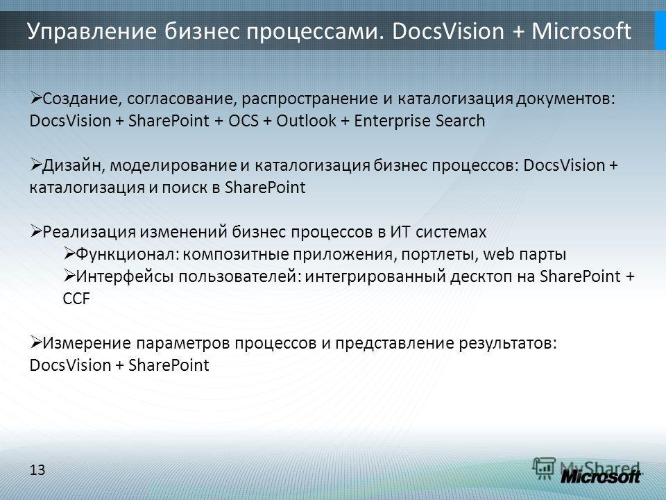 13 Управление бизнес процессами. DocsVision + Microsoft Создание, согласование, распространение и каталогизация документов: DocsVision + SharePoint + OCS + Outlook + Enterprise Search Дизайн, моделирование и каталогизация бизнес процессов: DocsVision