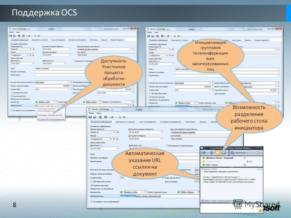 8 Поддержка OCS Доступность Участников процесса обработки документа Инициализация групповой телеконференции всех заинтересованных лиц Автоматическая указание URL ссылки на документ Возможность разделения рабочего стола инициатора