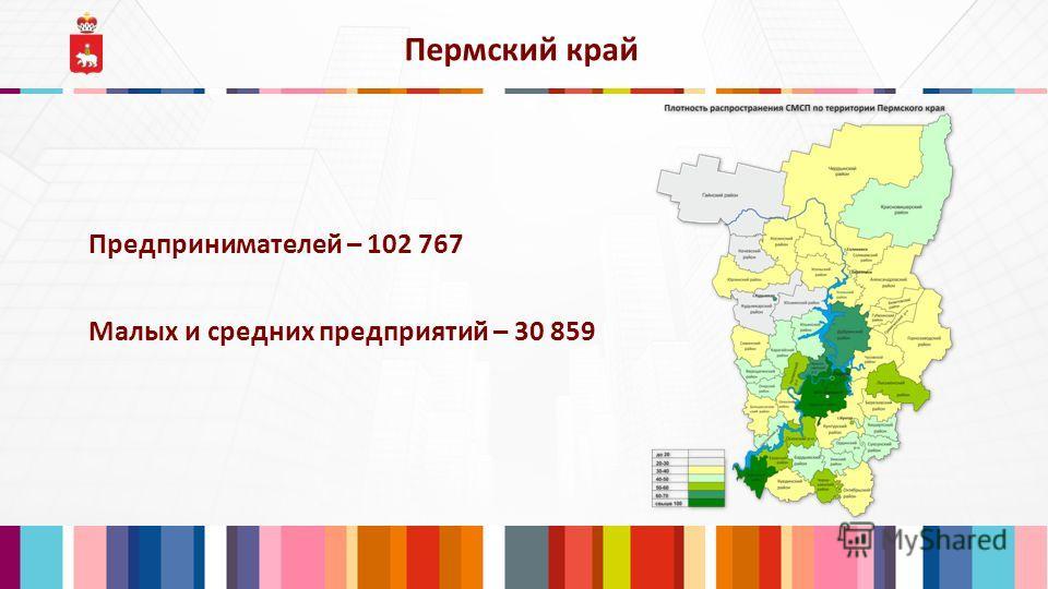 Предпринимателей – 102 767 Пермский край Малых и средних предприятий – 30 859