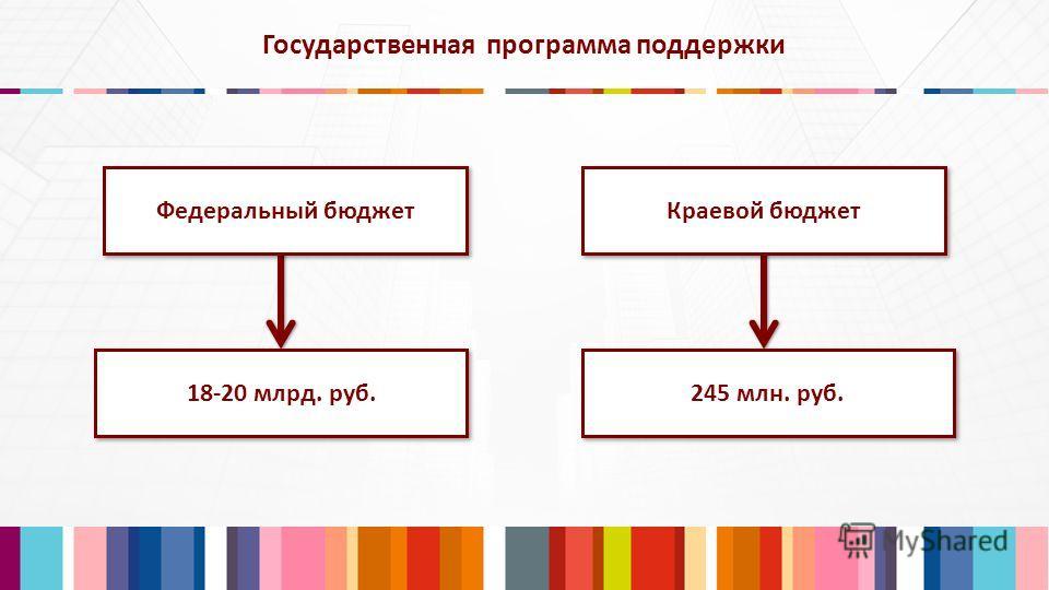 Государственная программа поддержки Федеральный бюджет Краевой бюджет 18-20 млрд. руб. 245 млн. руб.