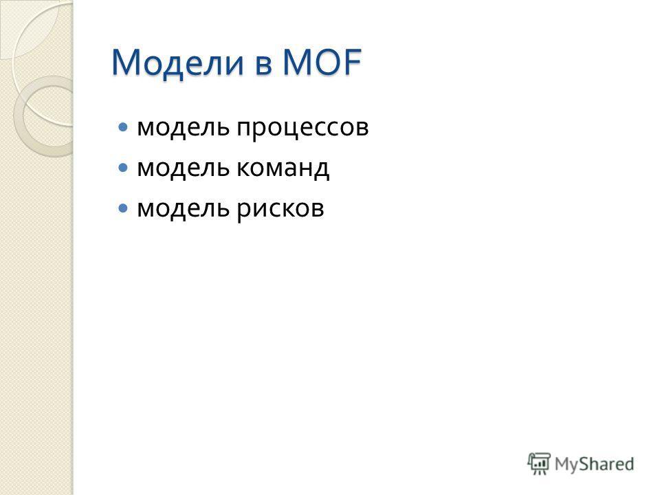 Модели в MOF модель процессов модель команд модель рисков