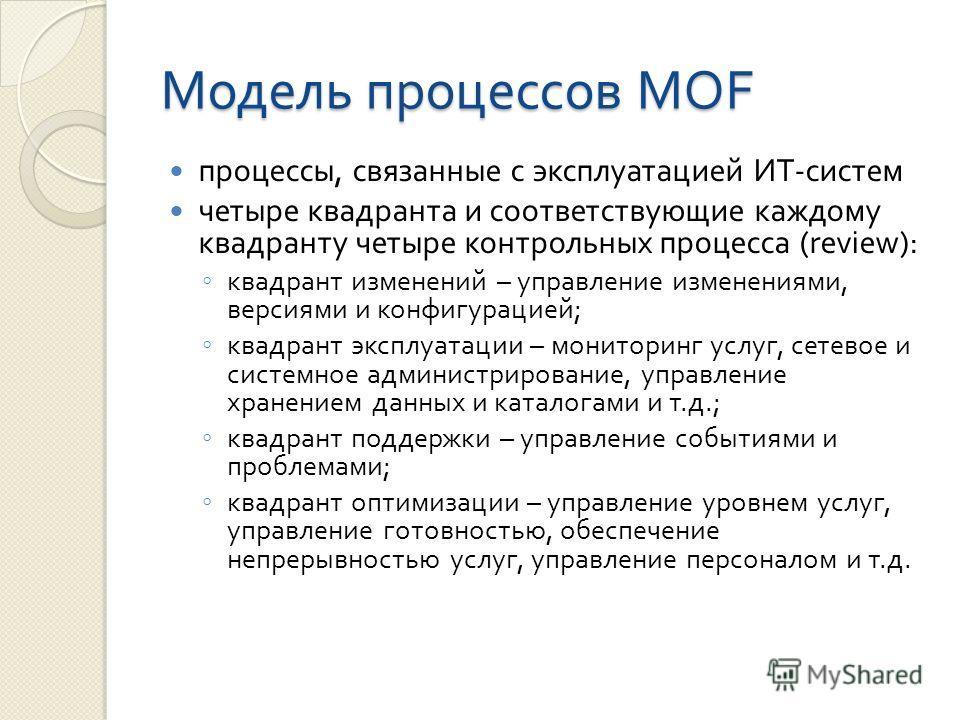Модель процессов MOF процессы, связанные с эксплуатацией ИТ - систем четыре квадранта и соответствующие каждому квадранту четыре контрольных процесса (review): квадрант изменений – управление изменениями, версиями и конфигурацией ; квадрант эксплуата