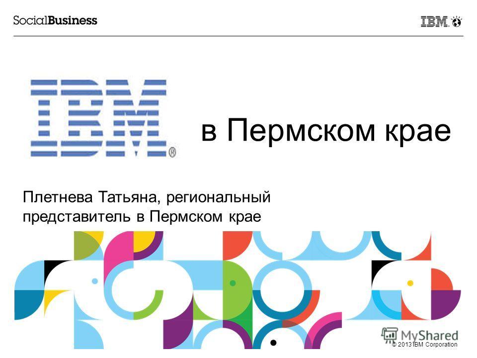 © 2013 IBM Corporation в Пермском крае Плетнева Татьяна, региональный представитель в Пермском крае
