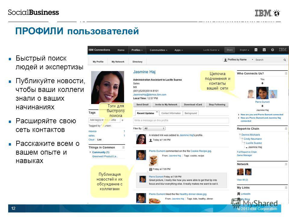 © 2013 IBM Corporation 12 Быстрый поиск людей и экспертизы Публикуйте новости, чтобы ваши коллеги знали о ваших начинаниях Расширяйте свою сеть контактов Расскажите всем о вашем опыте и навыках Profiles Find experts and build your social network Цепо