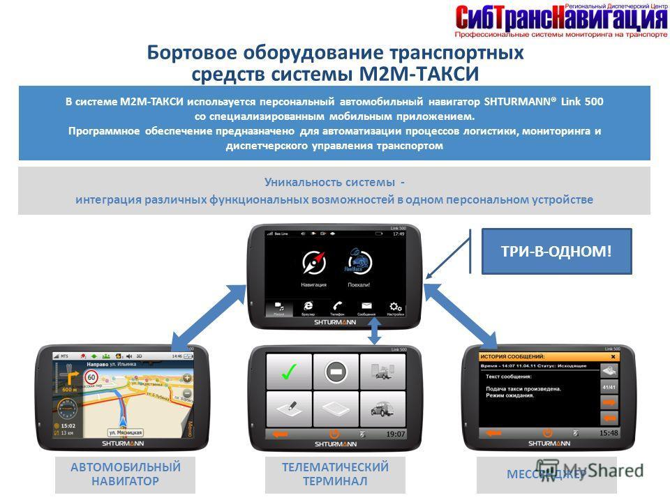 Бортовое оборудование транспортных средств системы М2М-ТАКСИ В системе М2М-ТАКСИ используется персональный автомобильный навигатор SHTURMANN® Link 500 со специализированным мобильным приложением. Программное обеспечение предназначено для автоматизаци