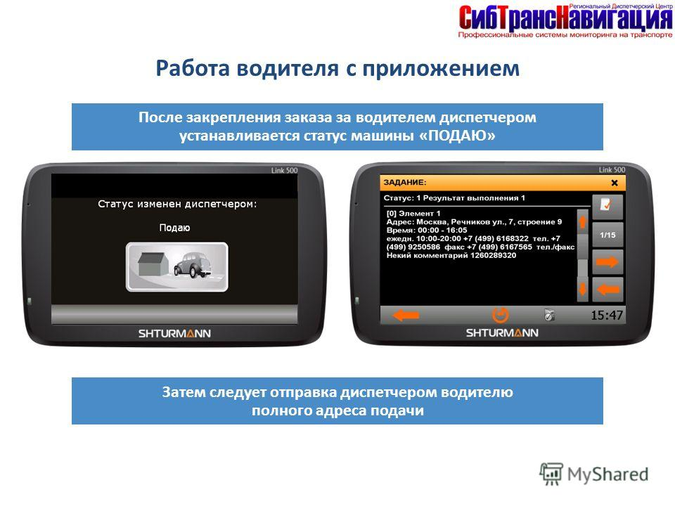 После закрепления заказа за водителем диспетчером устанавливается статус машины «ПОДАЮ» Затем следует отправка диспетчером водителю полного адреса подачи Работа водителя с приложением