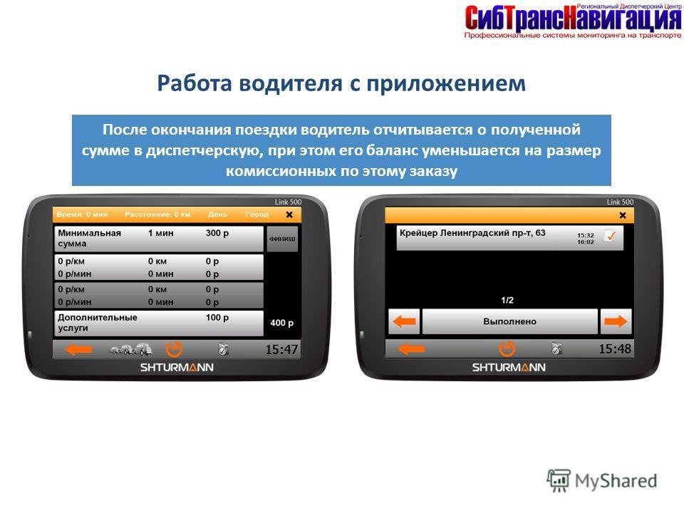 После окончания поездки водитель отчитывается о полученной сумме в диспетчерскую, при этом его баланс уменьшается на размер комиссионных по этому заказу Работа водителя с приложением