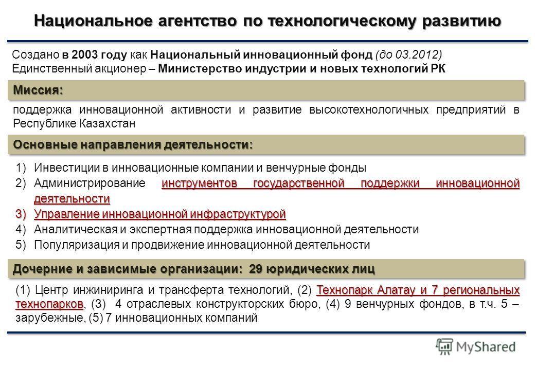 Национальное агентство по технологическому развитию Миссия:Миссия: поддержка инновационной активности и развитие высокотехнологичных предприятий в Республике Казахстан 1)Инвестиции в инновационные компании и венчурные фонды инструментов государственн