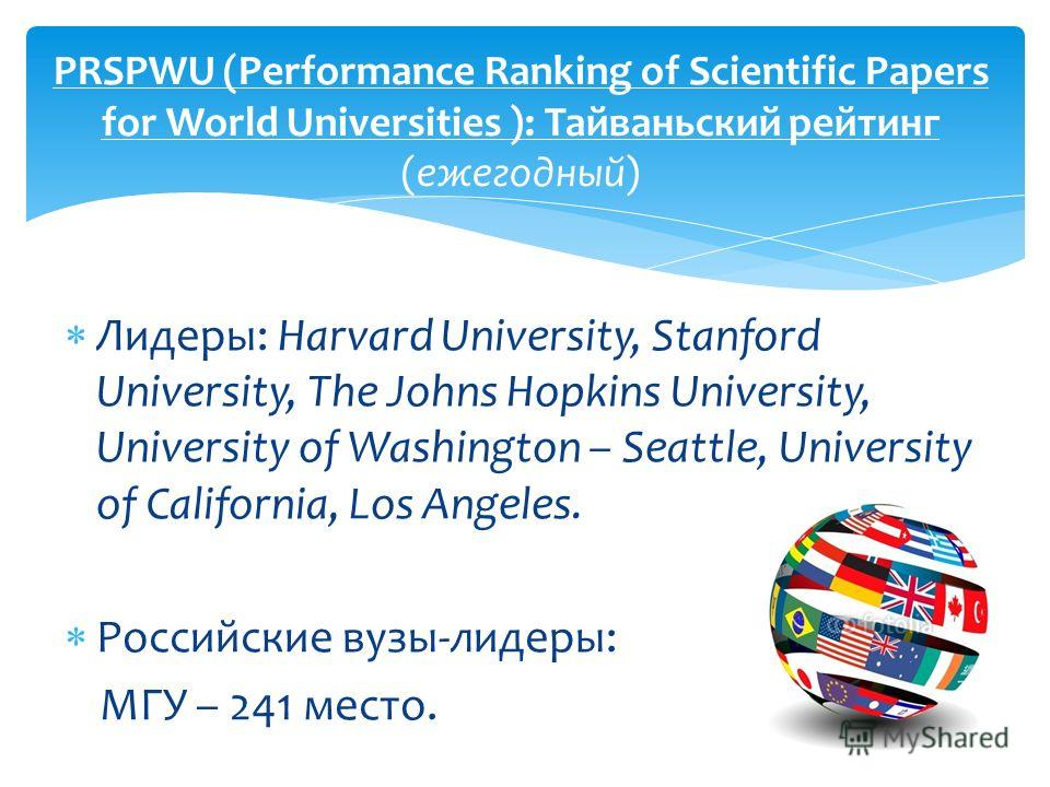 Лидеры: Harvard University, Stanford University, The Johns Hopkins University, University of Washington – Seattle, University of California, Los Angeles. Российские вузы-лидеры: МГУ – 241 место. PRSPWU (Performance Ranking of Scientific Papers for Wo