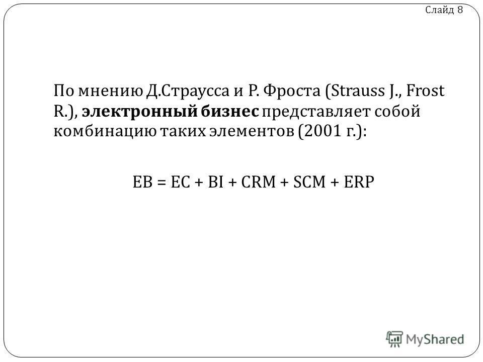 Слайд 8 По мнению Д. Страусса и Р. Фроста (Strauss J., Frost R.), электронный бизнес представляет собой комбинацию таких элементов (2001 г.): EB = EC + BI + CRM + SCM + ERP