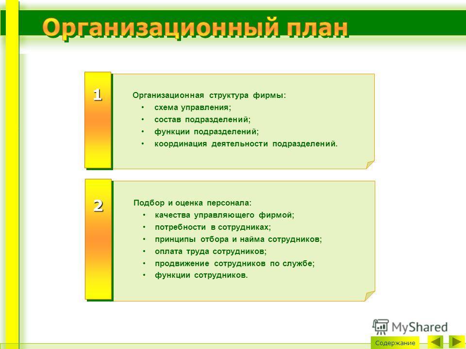 Содержание Организационная структура фирмы: схема управления; состав подразделений; функции подразделений; координация деятельности подразделений. 11 Подбор и оценка персонала: качества управляющего фирмой; потребности в сотрудниках; принципы отбора