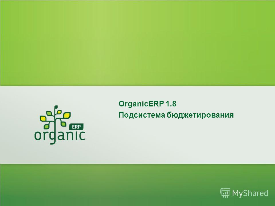 OrganicERP 1.8 Подсистема бюджетирования