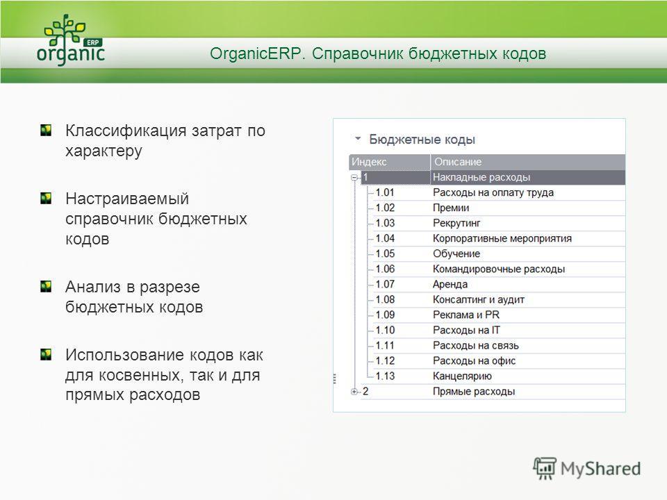 OrganicERP. Справочник бюджетных кодов Классификация затрат по характеру Настраиваемый справочник бюджетных кодов Анализ в разрезе бюджетных кодов Использование кодов как для косвенных, так и для прямых расходов