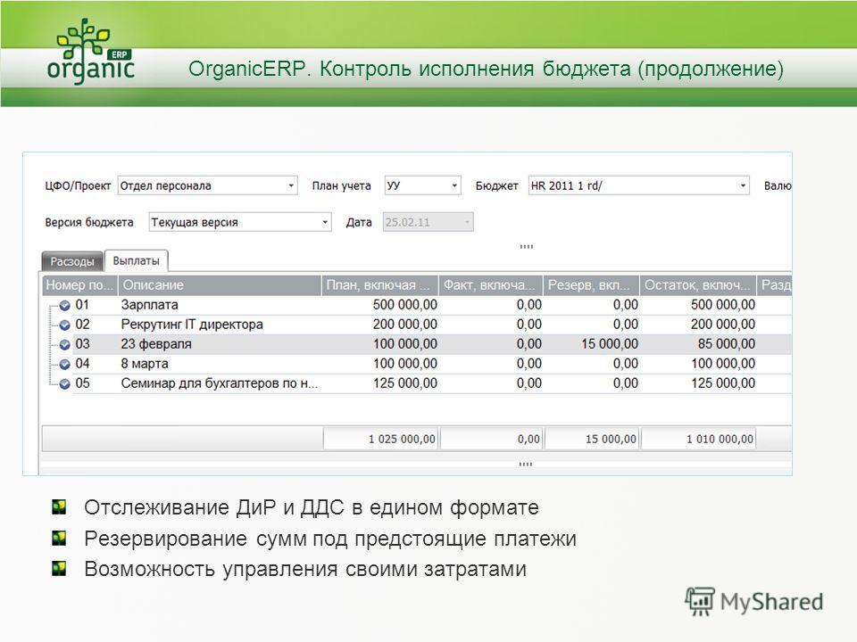 OrganicERP. Контроль исполнения бюджета (продолжение) Отслеживание ДиР и ДДС в едином формате Резервирование сумм под предстоящие платежи Возможность управления своими затратами