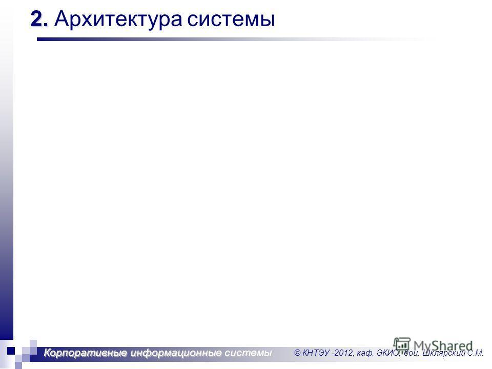 © КНТЭУ -2012, каф. ЭКИС, доц. Шклярский С.М. Корпоративные информационные системы 2. 2. Архитектура системы