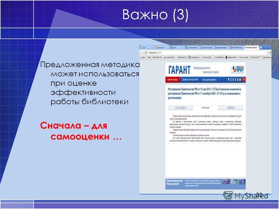 Важно (3) Предложенная методика может использоваться при оценке эффективности работы библиотеки Сначала – для самооценки … 32