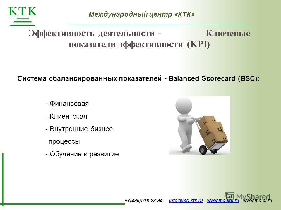 Международный центр «КТК» +7(495)518-28-94 info@mc-ktk.ru www.mc-ktk.ru www.mc-ei.ruinfo@mc-ktk.ruwww.mc-ktk.ru Эффективность деятельности - Ключевые показатели эффективности (KPI) Система сбалансированных показателей - Balanced Scorecard (BSC) : - Ф