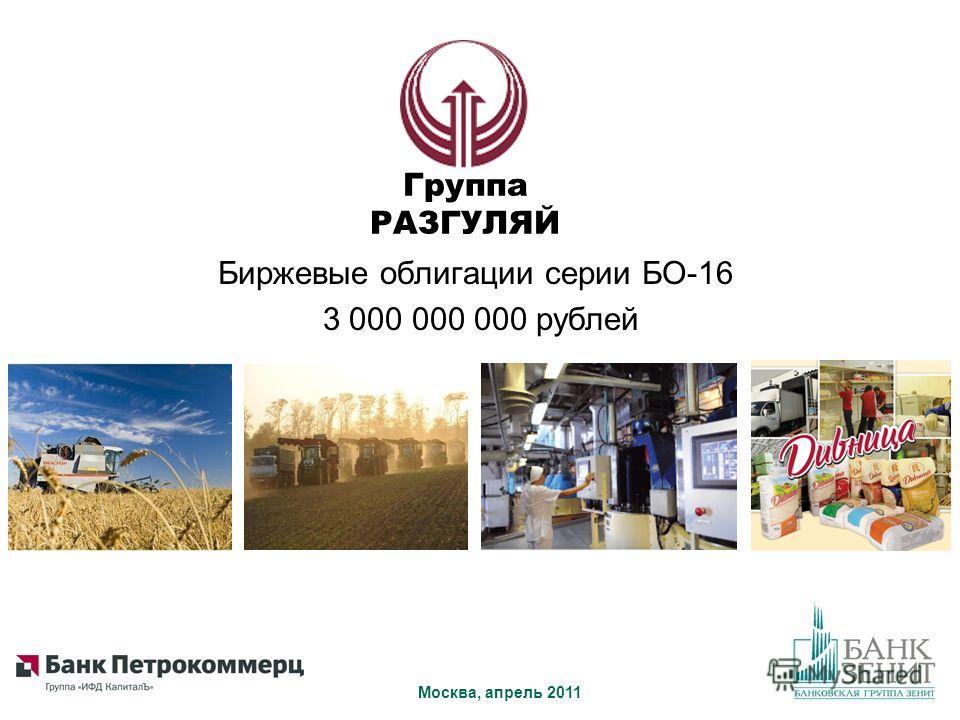 Биржевые облигации серии БО-16 3 000 000 000 рублей Москва, апрель 2011 Группа РАЗГУЛЯЙ