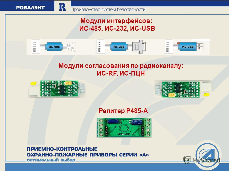 Модули интерфейсов: ИС-485, ИС-232, ИС-USB Модули согласования по радиоканалу: ИС-RF, ИС-ПЦН Репитер Р485-А