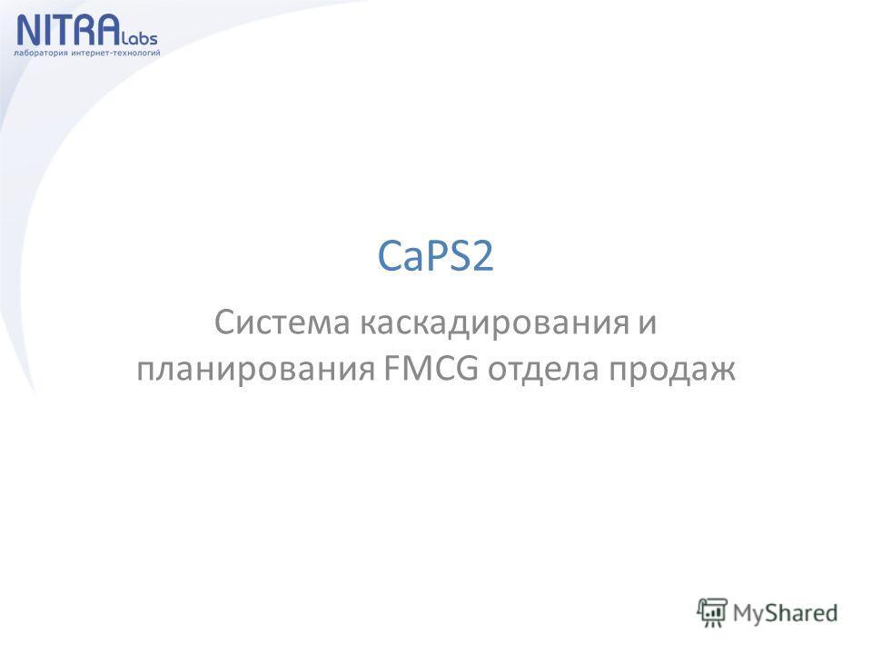 CaPS2 Система каскадирования и планирования FMCG отдела продаж