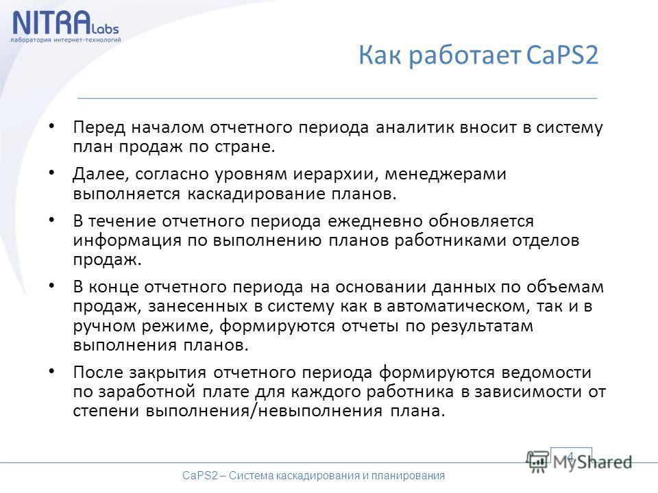 Как работает CaPS2 Перед началом отчетного периода аналитик вносит в систему план продаж по стране. Далее, согласно уровням иерархии, менеджерами выполняется каскадирование планов. В течение отчетного периода ежедневно обновляется информация по выпол