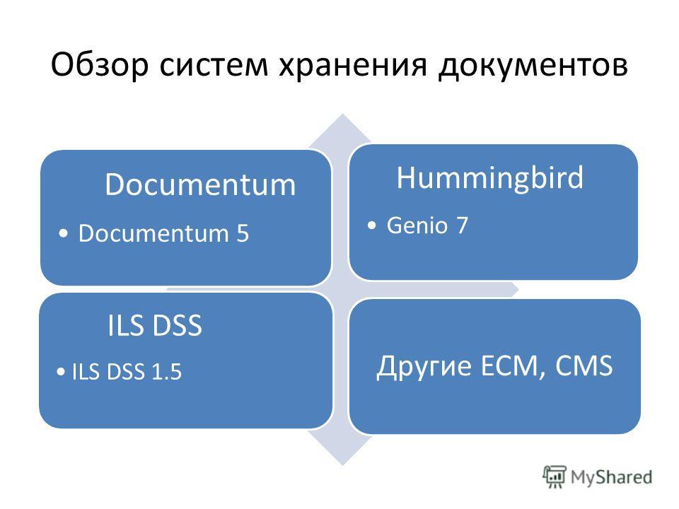 Обзор систем хранения документов Documentum Documentum 5 Hummingbird Genio 7 ILS DSS ILS DSS 1.5 Другие ECM, CMS