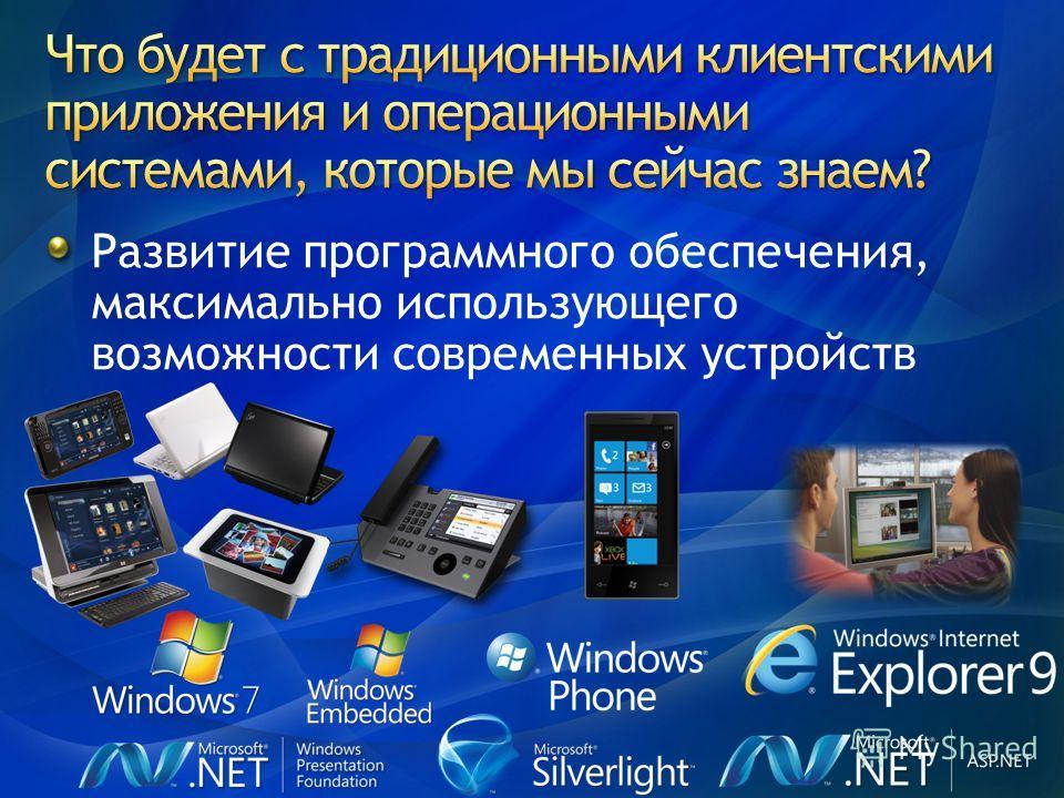 Развитие программного обеспечения, максимально использующего возможности современных устройств