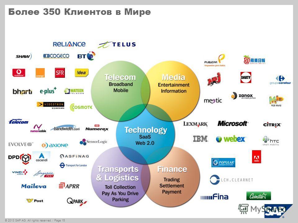 ©2013 SAP AG. All rights reserved. / Page 15 Более 350 Клиентов в Мире