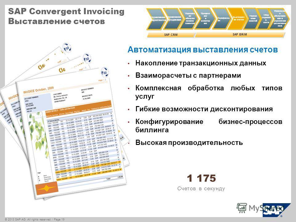 ©2013 SAP AG. All rights reserved. / Page 19 SAP Convergent Invoicing Выставление счетов Автоматизация выставления счетов Накопление транзакционных данных Взаиморасчеты с партнерами Комплексная обработка любых типов услуг Гибкие возможности дисконтир