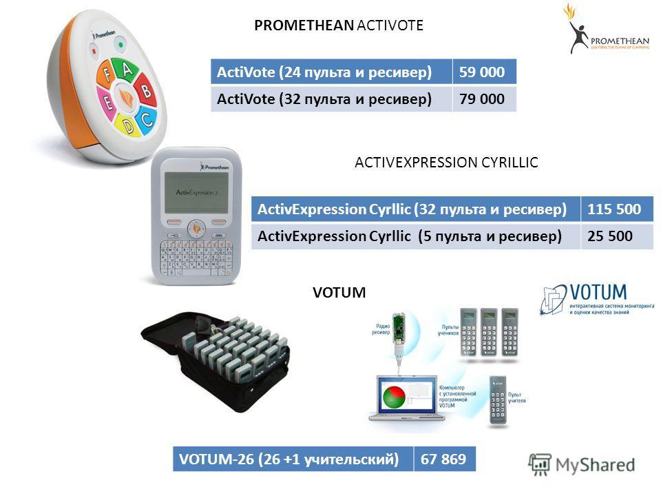 PROMETHEAN ACTIVOTE ACTIVEXPRESSION CYRILLIC VOTUM ActiVote (24 пульта и ресивер)59 000 ActiVote (32 пульта и ресивер)79 000 ActivExpression Cyrllic (32 пульта и ресивер)115 500 ActivExpression Cyrllic (5 пульта и ресивер)25 500 VOTUM-26 (26 +1 учите
