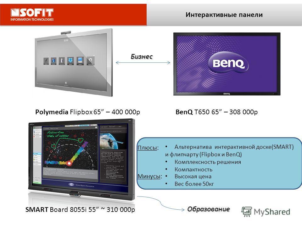 Интерактивные панели Polymedia Flipbox 65 – 400 000рBenQ T650 65 – 308 000р SMART Board 8055i 55 ~ 310 000р Альтернатива интерактивной доске(SMART) и флипчарту (Flipbox и BenQ) Комплексность решения Компактность Плюсы: Минусы: Высокая цена Вес более