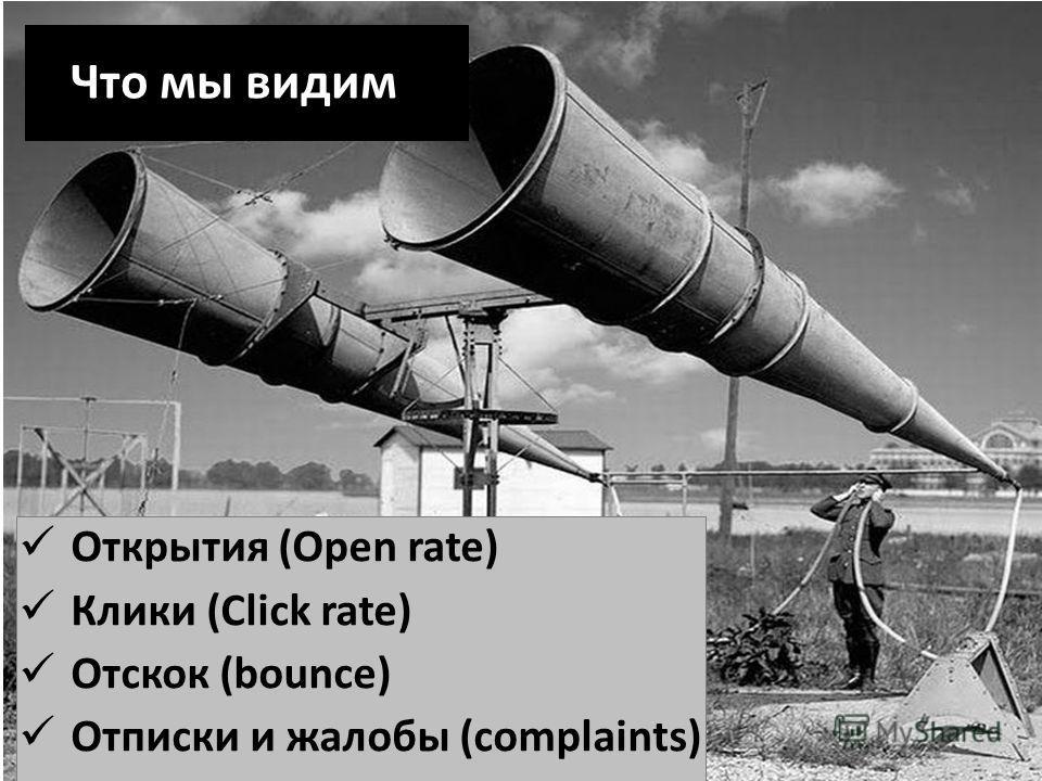 Что мы видим Открытия (Open rate) Клики (Click rate) Отскок (bounce) Отписки и жалобы (complaints)