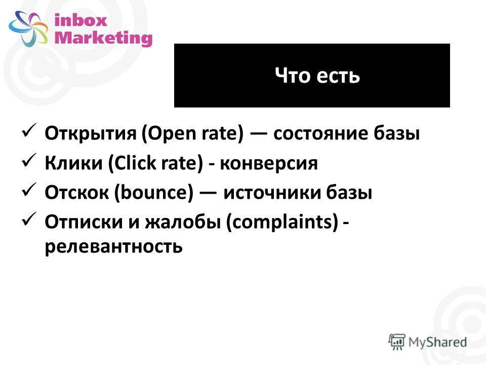 Что есть Открытия (Open rate) состояние базы Клики (Click rate) - конверсия Отскок (bounce) источники базы Отписки и жалобы (complaints) - релевантность
