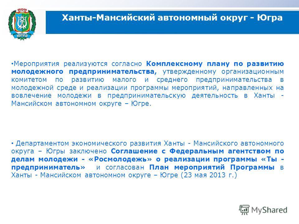 Ханты-Мансийский автономный округ - Югра Мероприятия реализуются согласно Комплексному плану по развитию молодежного предпринимательства, утвержденному организационным комитетом по развитию малого и среднего предпринимательства в молодежной среде и р
